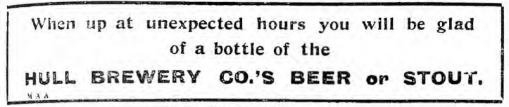 Hull Brewery ad - unexpected hours - HDM 6 Sept 1915